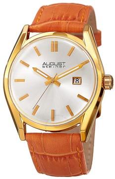 August Steiner Silver Dial Ladies Orange Leather Watch