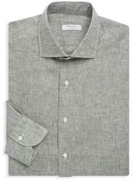 Boglioli Slim-Fit Spread Collar Linen Dress Shirt