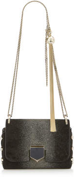 Jimmy Choo LOCKETT MINI Black Suede Shoulder Bag with Champagne Sprayed Glitter Degrade