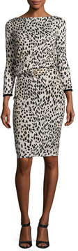 Roberto Cavalli Belted Long-Sleeve Cheetah-Print Dress