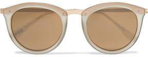 Le Specs No Smirking Round-frame Acetate Mirrored Sunglasses - Gold