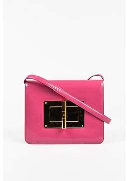 Tom Ford Pre-owned Dark Pink Patent Gold Tone natalia Crossbody Bag.