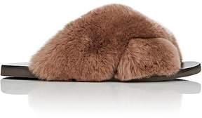 Barneys New York Women's Rabbit Fur Crisscross-Strap Slide Sandals