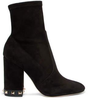 Valentino Garavani The Rockstud Suede Ankle Boots - Black