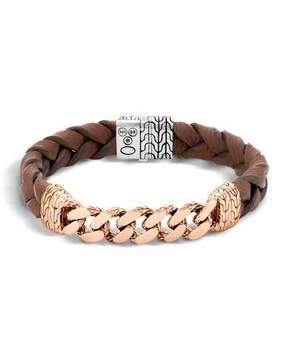 John Hardy Classic Chain Men's Bracelet with Leather Strap