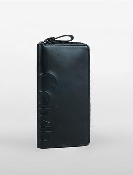 Long Leather Logo Zip Wallet