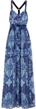 Matthew Williamson Inca Jewel Embellished Printed Silk-chiffon Gown - Blue