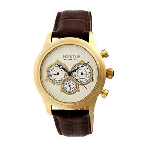 Heritor Automatic Earnhardt Mens Leather Day&Date-Gold Tone/Silver Tone Watch
