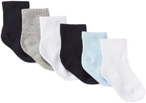 Starting Out Baby Boys 6-Pack Basic Rib Crew Socks
