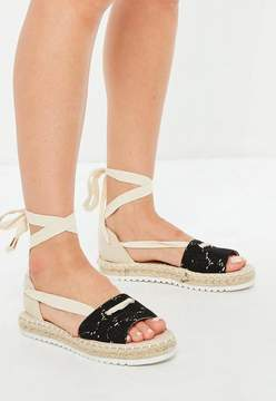 Missguided Beige Lace Front Espadrille Sandals