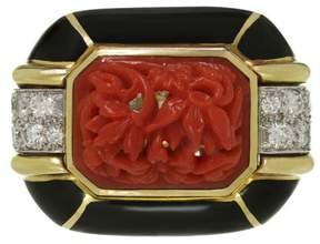 David Webb 18k Yellow Gold & Platinum 0.90 Ct Diamond Coral Enamel Ring Size 6.5