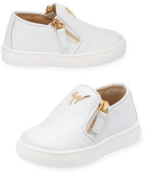 Giuseppe Zanotti Girls' London Laceless Leather Low-Top Sneaker, Infant/Toddler