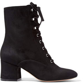 Gianvito Rossi 60 Lace-up Suede Ankle Boots - Black