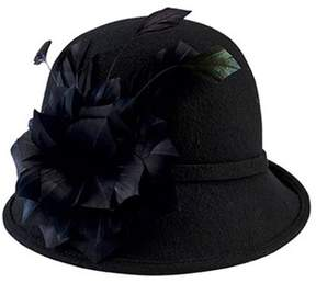 San Diego Hat Company Women's Wool Felt Cloche With Feather Trim Drs3550.