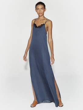 Halston SLEEVELESS FLOWY MAXI DRESS WITH APPLIQUE
