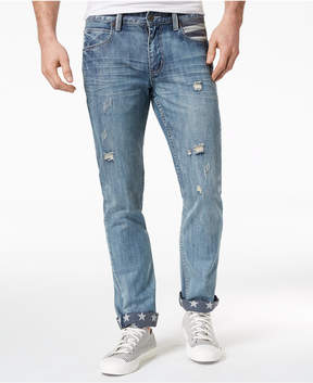 INC International Concepts I.n.c. Men's Slim Straight Ripped Star-Cuff Jeans, Created for Macy's