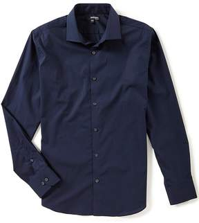 Murano Slim Long Sleeve Spread Collar Solid Woven Shirt