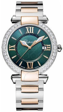 Chopard Imperiale Green Dial Diamond Two Tone Ladies Watch