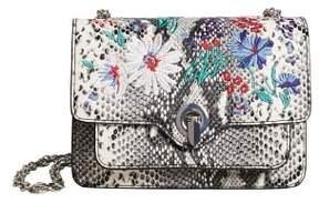MANGO Embroidery snake-effect bag