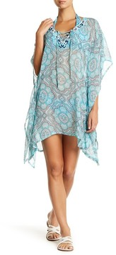 Letarte Embroidered Sheer Printed Cover-Up