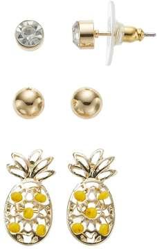Ball Yellow Pineapple & Stud Nickel Free Earring Set