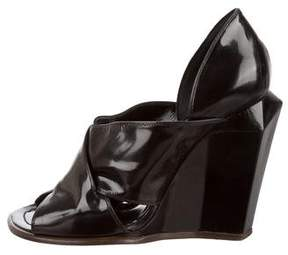 Marc Jacobs Patent Leather Peep-Toe Wedges