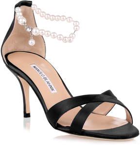 Manolo Blahnik Calla Pearl black satin sandal