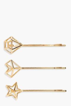boohoo Lucy Star And Crystal Hair Grip 3 Pack
