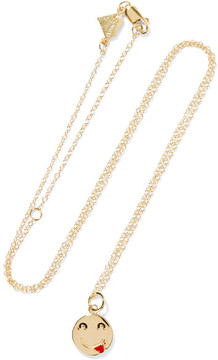 Alison Lou Small Tongue Out Enameled 14-karat Gold Necklace