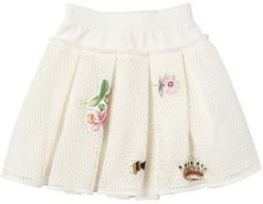 MonnaLisa Embellished Mesh & Cotton Skirt