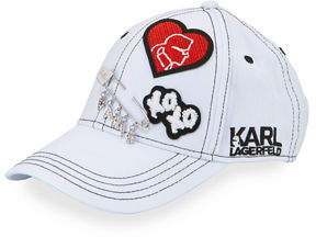 Karl Lagerfeld Logo Patch and Charm Baseball Cap