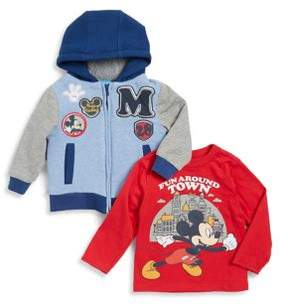 Nannette Little Boy's Two-Piece Mickey Mouse Cotton Hoodie and Top Set