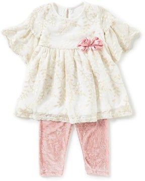Bonnie Jean Little Girls 2T-6X Metallic Embroidered A-Line Dress & Crushed Velvet Pant Set