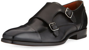 Ermenegildo Zegna Milano Double-Monk Leather Shoe, Black