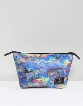 Asos Toiletry Bag In Multi Color Oil Print