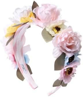 MonnaLisa Flower Embellished Satin Headband