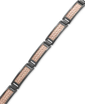 Effy Men's Herringbone Link Bracelet in Black Rhodium-Plated and 18k Rose Gold-Plated Sterling Silver