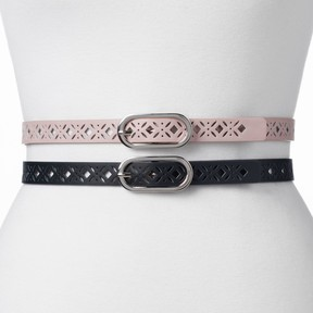 Apt. 9 Women's Perforated 2-for-1 Belt Set