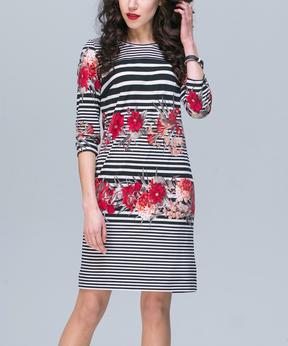 JET Black & Crimson Floral Stripe Three-Quarter Sleeve Dress