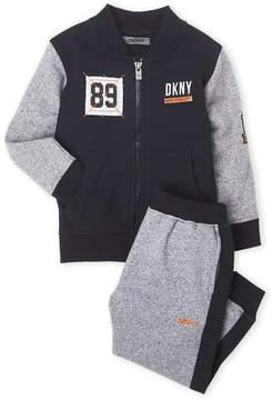 DKNY Toddler Boys) Two-Piece Color Block Bomber Jacket & Pants Set