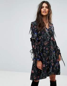 Vero Moda Tie Sleeve Embroidered Dress