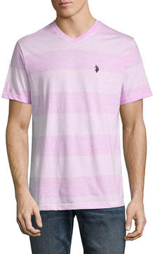 U.S. Polo Assn. USPA Embroidered Short Sleeve Stripe Jersey Polo Shirt