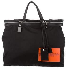 Calvin Klein Leather-Trimmed Canvas Satchel