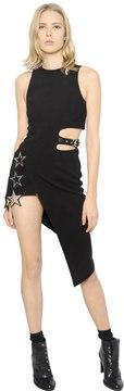 Anthony Vaccarello Metal Stars On Asymmetrical Crepe Dress
