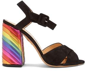 Charlotte Olympia Emma rainbow suede sandals