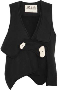 Awake Asymmetric Bonded Wool-blend Felt Vest - Black