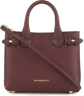 Burberry Banner check trim baby leather tote - MAHOGANY RED - STYLE