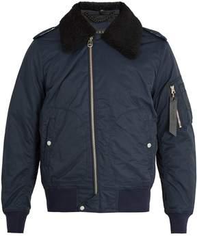 Rag & Bone Shearling-collar cotton-blend bomber jacket