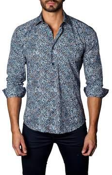 Jared Lang Long Sleeve Geo Trim Fit Woven Shirt