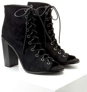 Forever 21 Lace-Up Faux Suede Booties